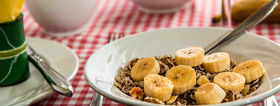 prato branco com cereal e banana picada em rodela sobre mesa com toalha quadriculada